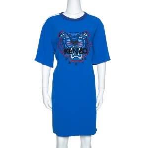Kenzo Blue Crepe Embroidered Tiger Motif T-Shirt Dress L