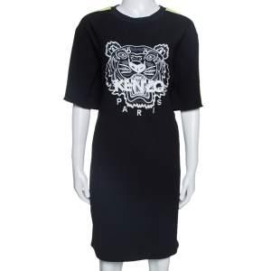 Kenzo Black Crepe Embroidered Tiger Motif T-Shirt Dress M