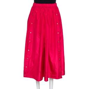 Kenzo Pink Tafetta Silk Blend Midi Skirt S