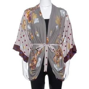 Kenzo Grey & Burgundy Silk Polka Dot & Floral Print Belted Kimono S