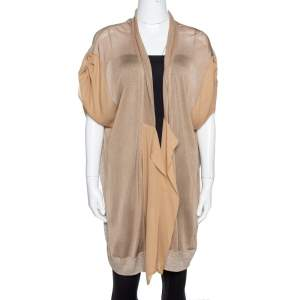 Kenzo Beige Lurex Knit & Chiffon Open Front Long Cardigan L