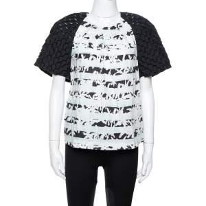 Kenzo White Printed Cotton Puff Sleeve Top M