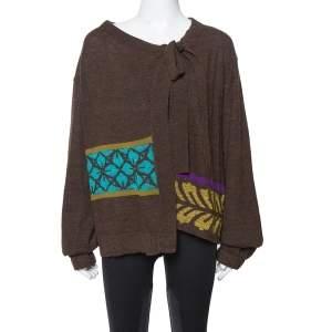 Kenzo Brown Lurex Jacquard Wool Knit Cardigan M