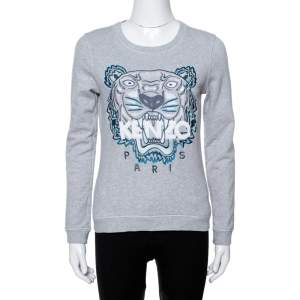 Kenzo Grey Tiger Embroidered Cotton Sweatshirt S