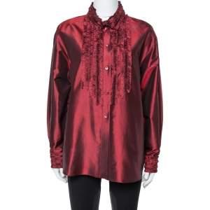 Kenzo Maroon Silk Ruffled Detail Long Sleeve Blouse M