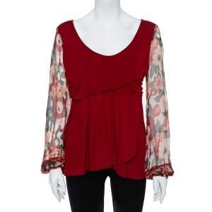 Kenzo Burgundy Cotton Blend Floral Print Long Sleeve Blouse L