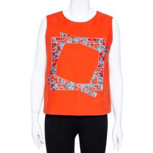Kenzo Coral Red Cotton Sleeve Less Top M