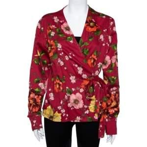 Kenzo Red Floral Print Cotton Wrap Top XL