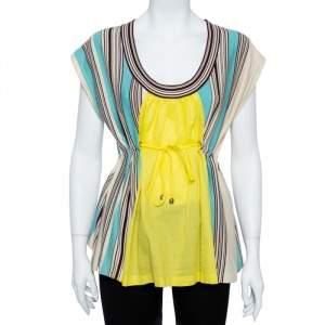 Kenzo Multicolor Cotton Stripe Knit Contrast Paneled Top M