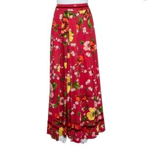 Kenzo Red Cotton Floral Print Pleated Maxi Skirt L