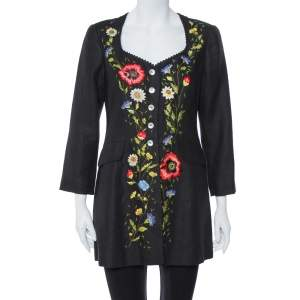 Kenzo Vintage Black Floral Embroidered Linen Button Front Jacket M