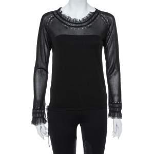 Kenzo Black Knit Waist Tie Detail Long Sleeve Top M