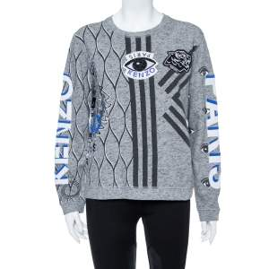 Kenzo Grey Multi Icon Embroidered Logo Applique Long Sleeve Sweatshirt XL