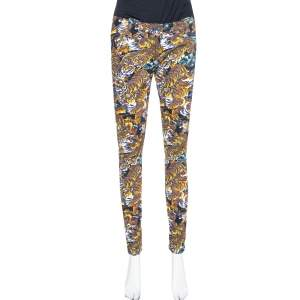 Kenzo Multicolor Flying Tiger Printed Denim Skinny Jeans M