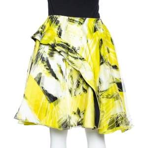 Kenzo Yellow Printed Organza Overlay Circular Skirt M