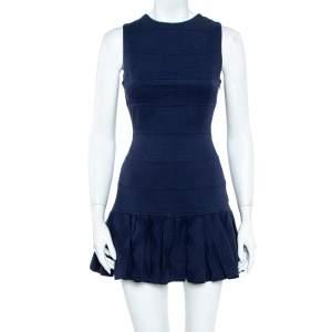 Kenzo Navy Blue Cotton Jacquard Ruffle Detail Sleeveless Mini Dress S