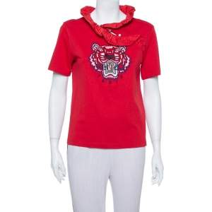 Kenzo Red Tiger Logo Embroidered Cotton Ruffle Neck T Shirt S