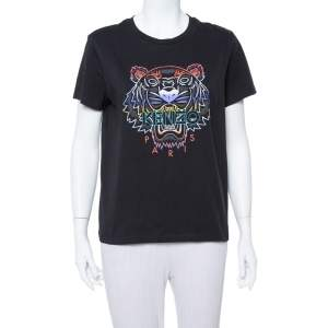 Kenzo Black Gradient Tiger Printed Cotton Crewneck T Shirt M