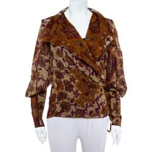Kenzo Brown Abstract Printed Wool Front Tie Detail Light Weight Jacket L