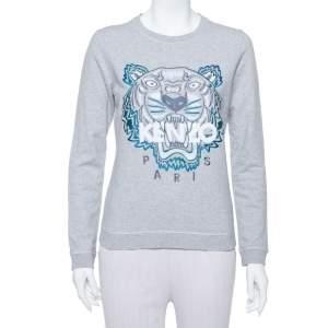 Kenzo Grey Tiger Motif Embroidered Cotton Sweatshirt M