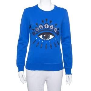 Kenzo Navy Blue Cotton Eye Embroidered Sweatshirt XS