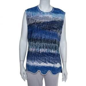 Kenzo Blue Neoprene Printed Sleeveless Oversized Top L