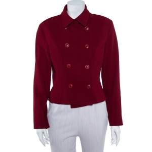 Kenzo Crimson Red Wool Double Breasted Cropped Blazer M