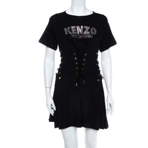 Kenzo Black Logo Printed Knit Corset Detail Mini Dress XS