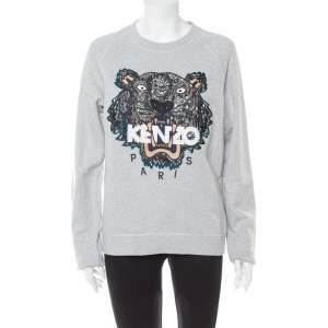 Kenzo Grey Tiger Motif Embroidered Cotton Crewneck Sweatshirt S