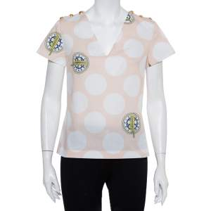 Kenzo Beige Polka Dot Logo Printed Cotton V-Neck Top S