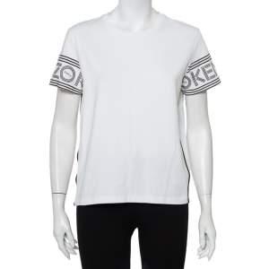 Kenzo White Cotton Logo Printed Sleeve Crewneck T-Shirt M