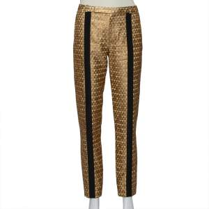 Kenzo Gold Brocade Contrast Trim Detail Tapered Leg Trousers S