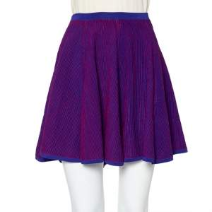 Kenzo Purple & Red Textured Knit Flared Mini Skirt S