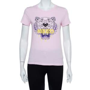 Kenzo Pink Tiger Printed Cotton Crewneck T-Shirt S