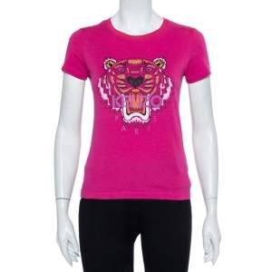 Kenzo Two Tone Tiger Printed Cotton Crewneck T-Shirt S