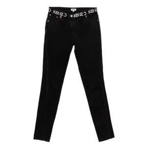 Kenzo Black Denim Logo Print Detail Skinny Jeans S