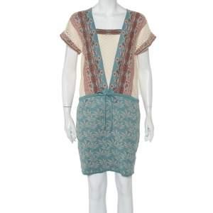 Kenzo Blue Floral Jacquard Knit & Pointelle Paneled Oversized Dress S