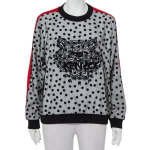 Kenzo Black Polka Dot Tulle Tiger Embroidered Contrast Trim Crewneck Sweatshirt L