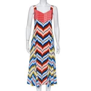 Kenzo Multicolor Printed Chiffon Sleeveless Midi Dress L
