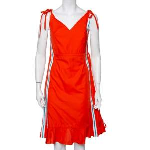 Kenzo Orange Cotton Striped Trim Tie Detail Ruffled Dress M