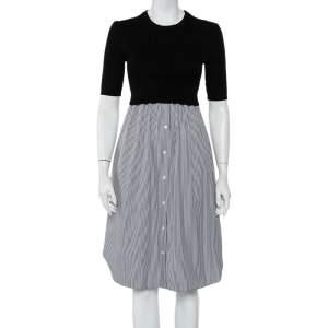 Kenzo Black Knit & Striped Cotton Paneled Midi Dress S