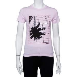 Kenzo Pink Palm Tree Printed Cotton Crewneck T-Shirt S