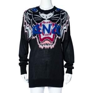 Kenzo Black Tiger Motif Jacquard Knit Oversized Sweater M