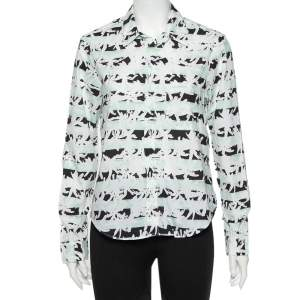 قميص كينزو قطن طبعة شجر النخيل أبيض بأزرار أمامية مقاس متوسط - ميديوم