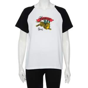 Kenzo White Cotton Contrast Sleeve Momento Tiger Printed T-Shirt L
