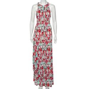 فستان كينزو ماكسي جيرسيه طبعة كتلة زهور متعدد الألوان مزين طبقة علوية مقاس كبير - لارج