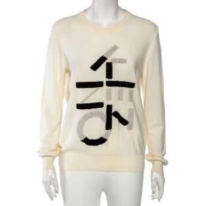 Kenzo Cream Knit Inlaid Logo Crewneck Sweater L