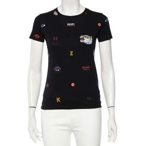 Kenzo Black Cotton Embroidered Tiger Detail Multi Logo T-Shirt XS