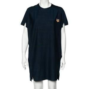 Kenzo Navy Blue Cotton Tiger Logo Detail T-Shirt Dress M
