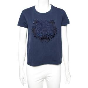 Kenzo Blue Cotton Tiger Embroidered Detail Round Neck T-Shirt S